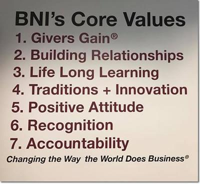 BNI California Gold Country Core Values